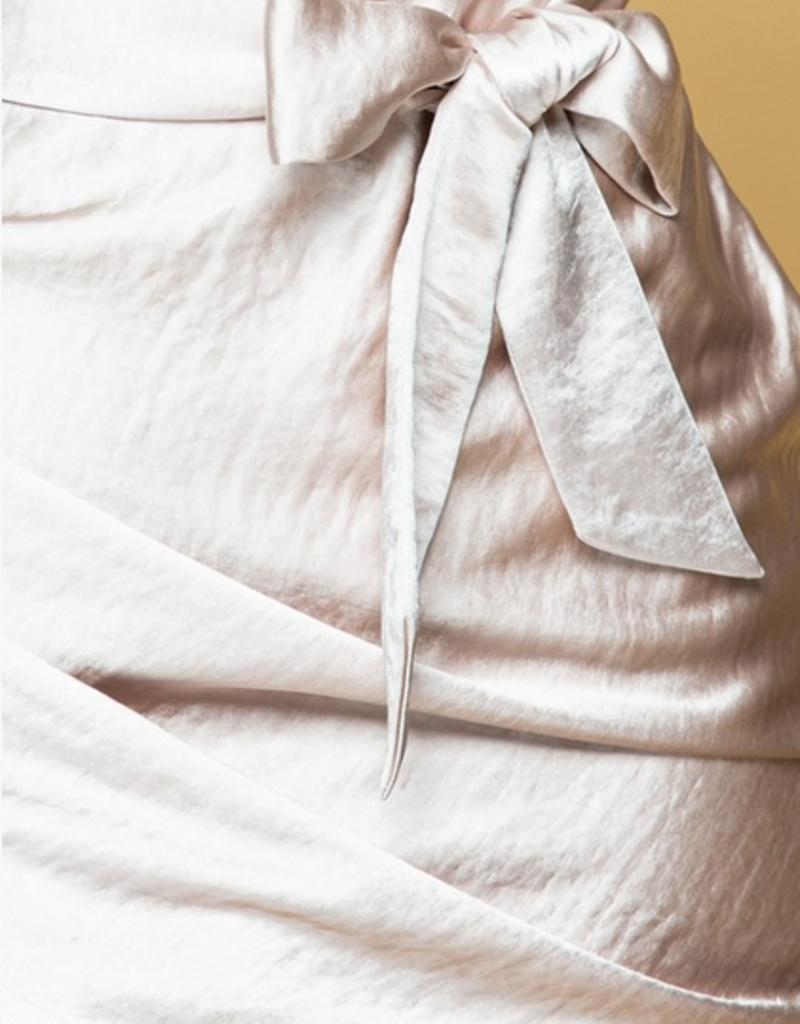 satin cowl neck dress with self tie belt