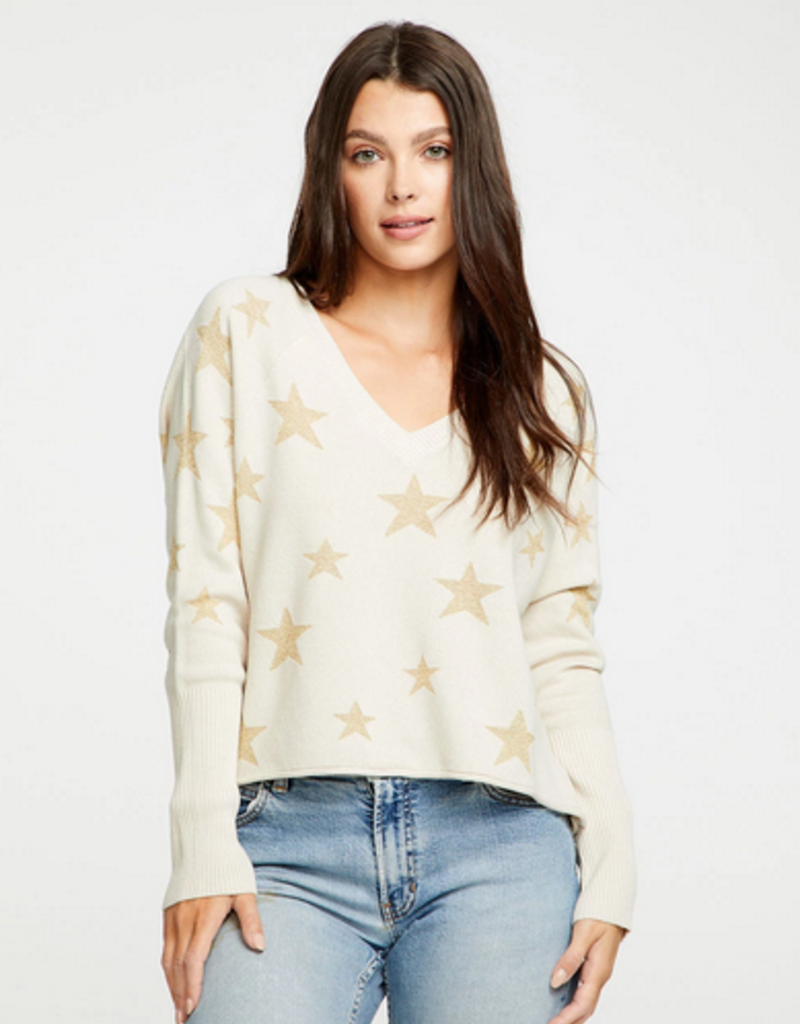 chaser star intarsia long sleeve top