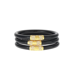 budhagirl black all weather bangles gold bead