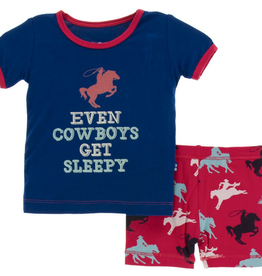 kickee pants flag red cowboy print short sleeve pajama set with shorts