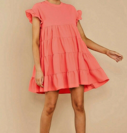 baby doll layered a - line dress coral S FINAL SALE