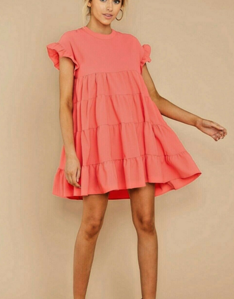 baby doll layered a - line dress coral S