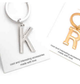 block letter initial keychain
