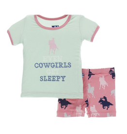 kickee pants strawberry cowgirl print short sleeve pajama set with shorts