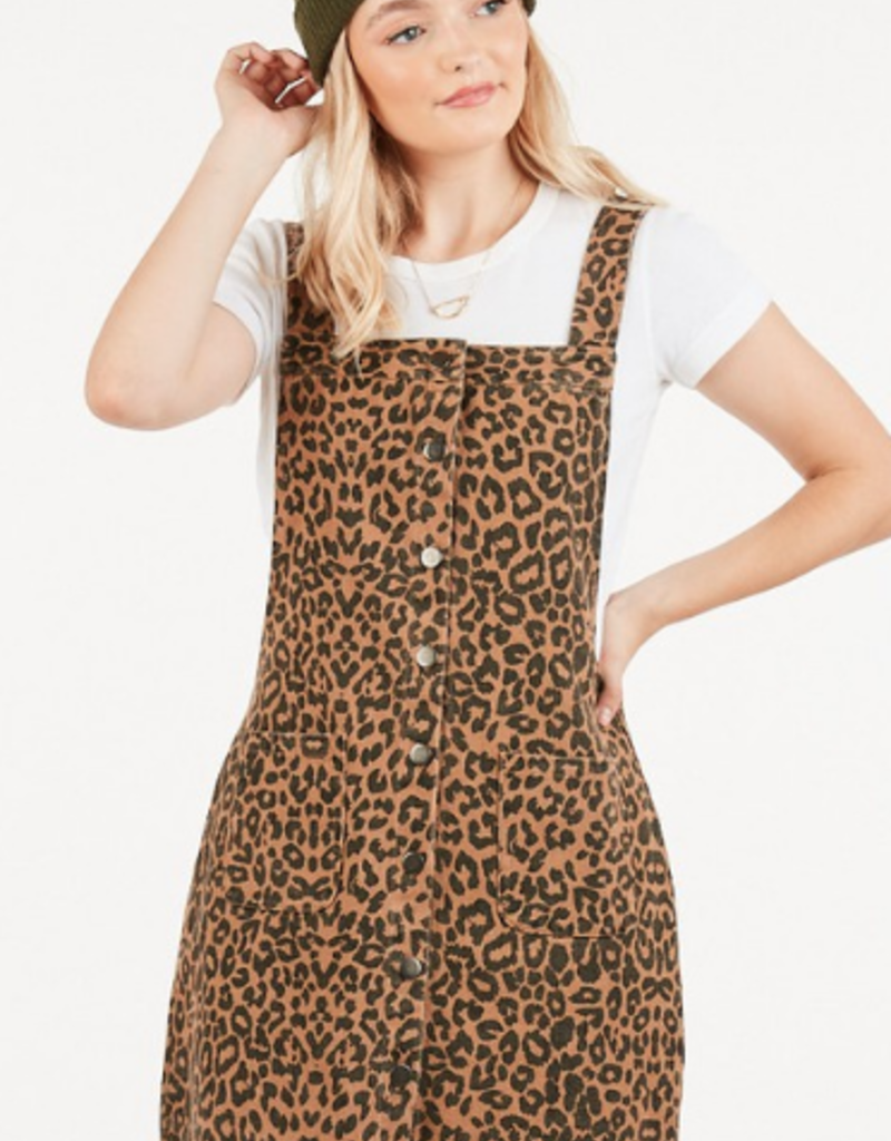 very j leopard overall dress