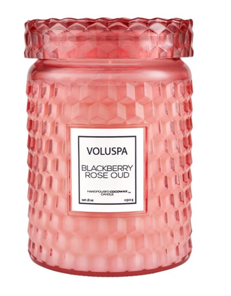 voluspa blackberry rose oud large jar candle 18oz