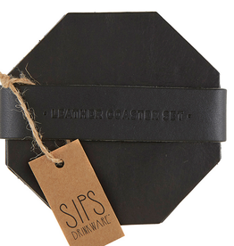 santa barbara designs leather coaster set