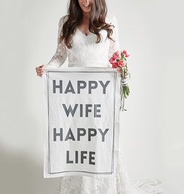 santa barbara designs happy wife tea towel
