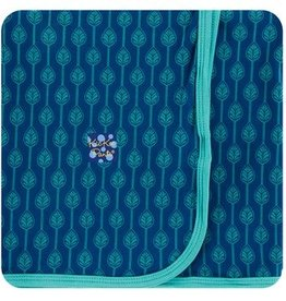 kickee pants navy leaf lattice swaddling blanket