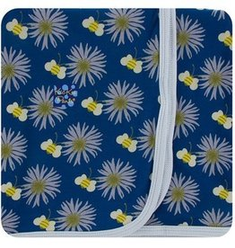kickee pants navy cornflower and bee swaddling blanket