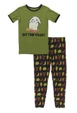 kickee pants zebra garden veggies short sleeve pajama set