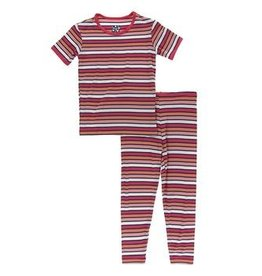 kickee pants botany red ginger stripe short sleeve pajama set
