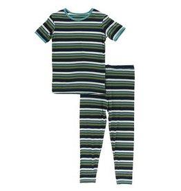 kickee pants botany grasshopper stripe short sleeve pajama set
