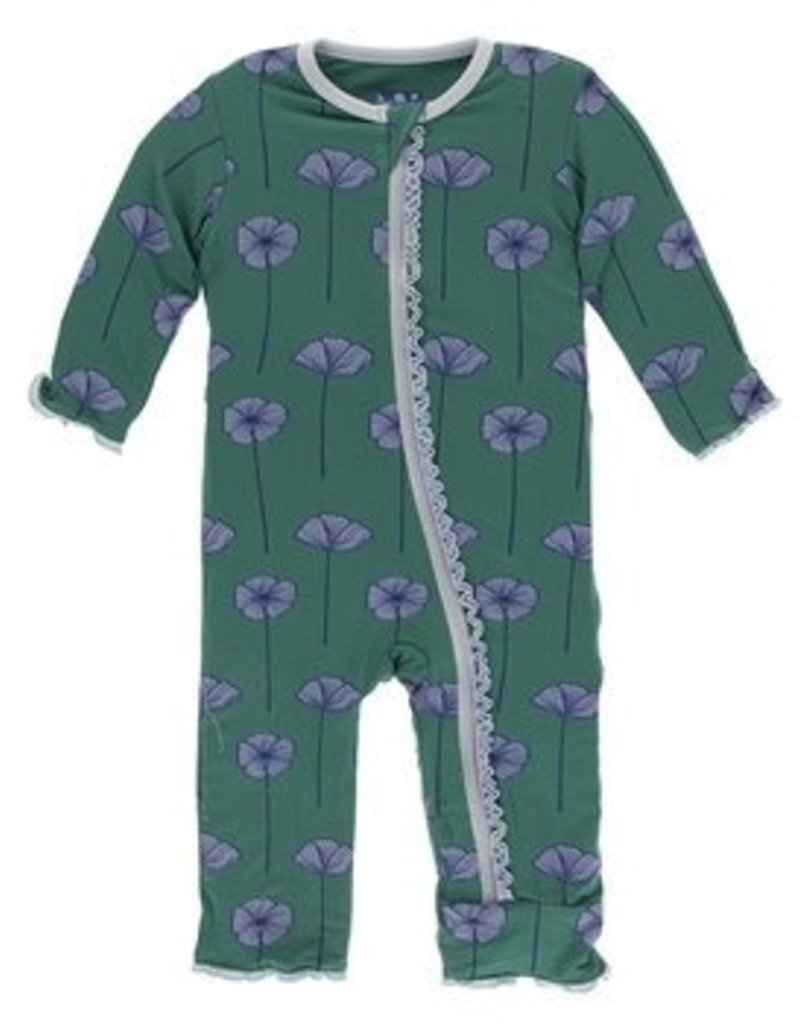 kickee pants ivy poppies coverall with zipper