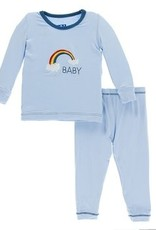 kickee pants pond rainbow baby long sleeve pajama set