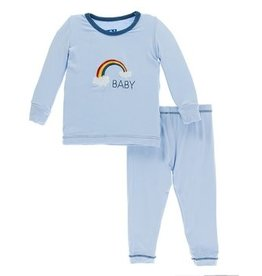 kickee pants pond rainbow baby long sleeve pajama set