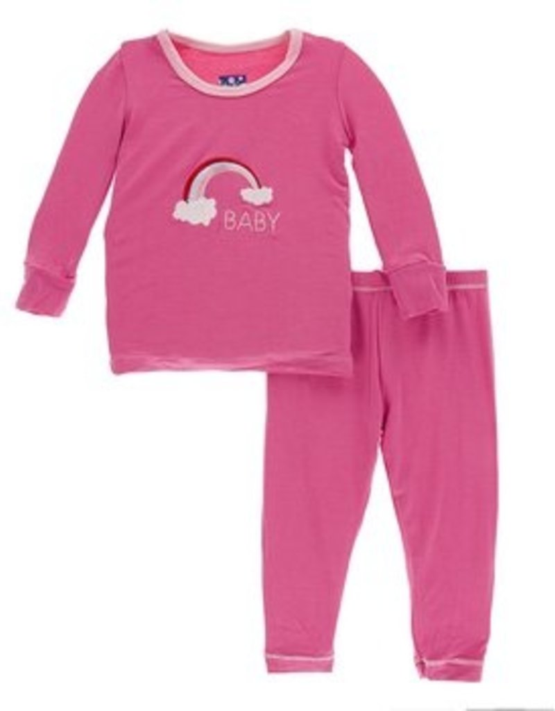 kickee pants flamingo rainbow baby long sleeve pajama set