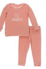 kickee pants blush big sister long sleeve pajama set