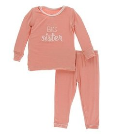 kickee pants blush big sister long sleeve pajama set