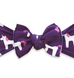 Baby Bling plum unicorn printed knot
