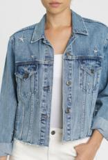 pistola naya crop star embroidery boyfriend denim jacket