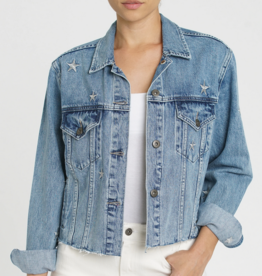 pistola naya crop star embroidery boyfriend denim jacket