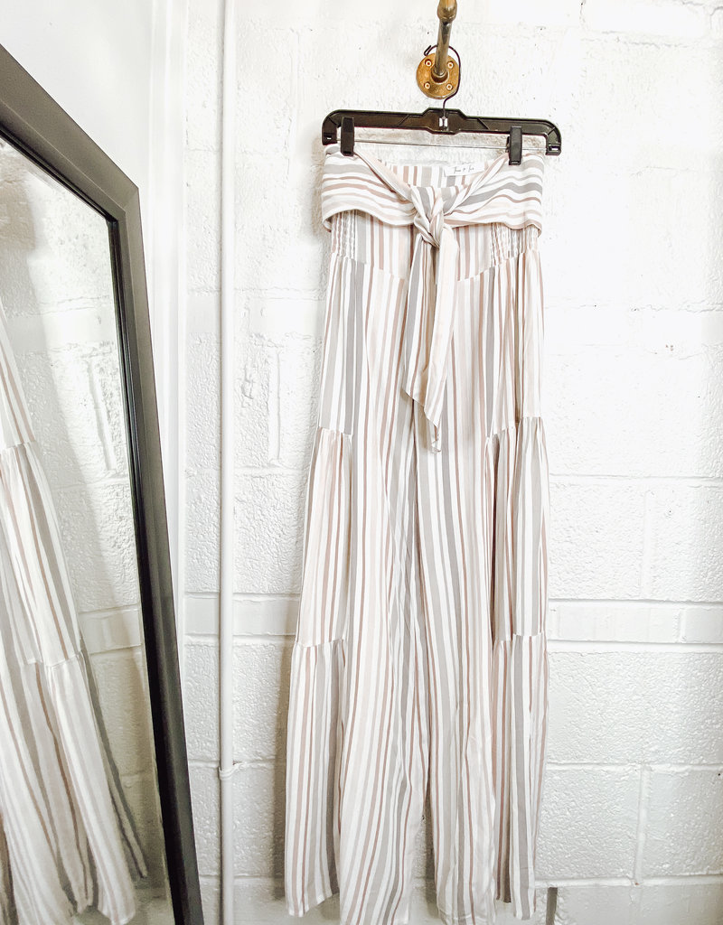 blush flare striped pants