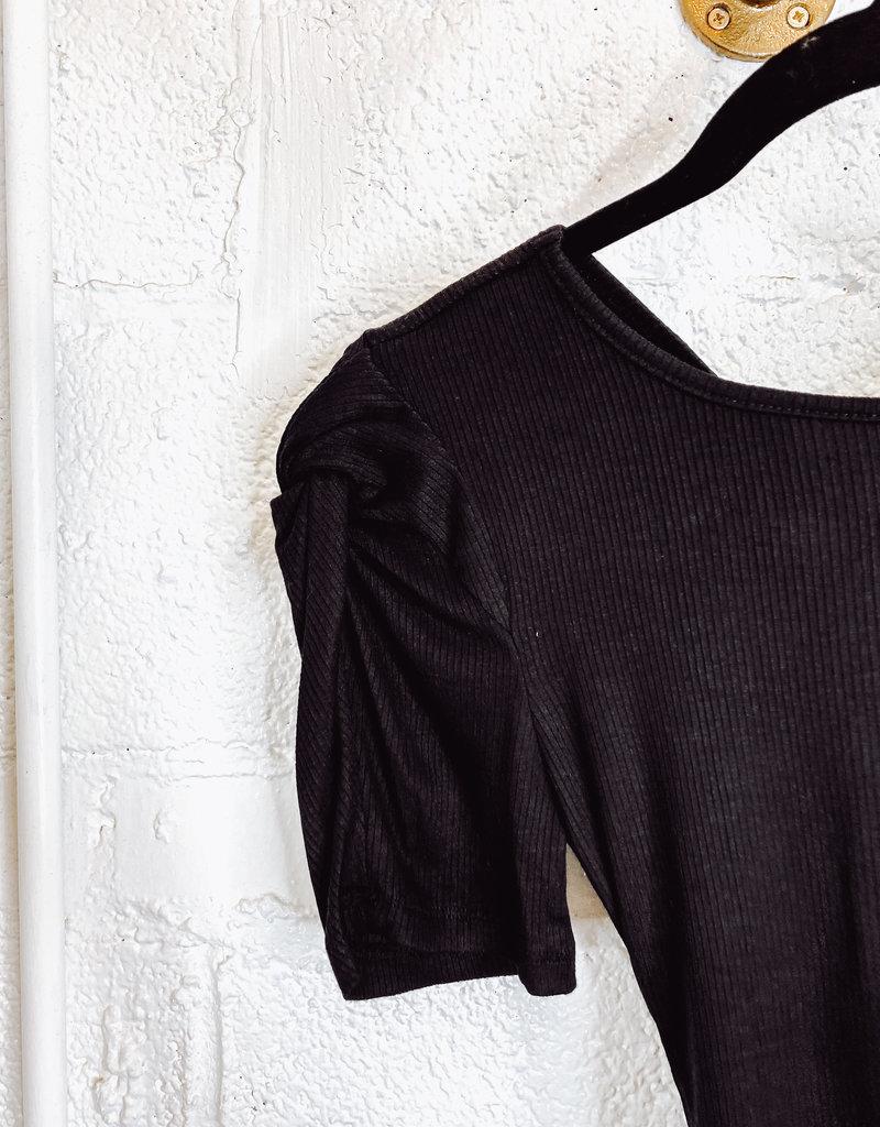 puffed sleeve open back bodysuit