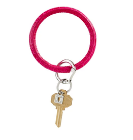 o venture big o luxe leather key ring pink topaz croc