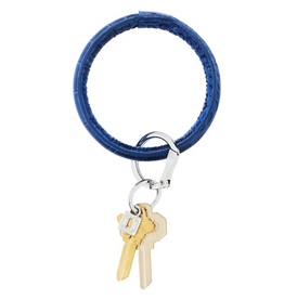 o venture big o luxe leather key ring sapphire croc