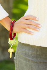 o venture big o luxe leather key ring ruby snakeskin