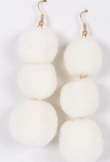 3 pom earrings