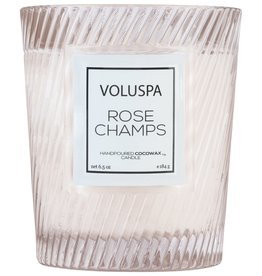voluspa rose champs classic candle in textured glass