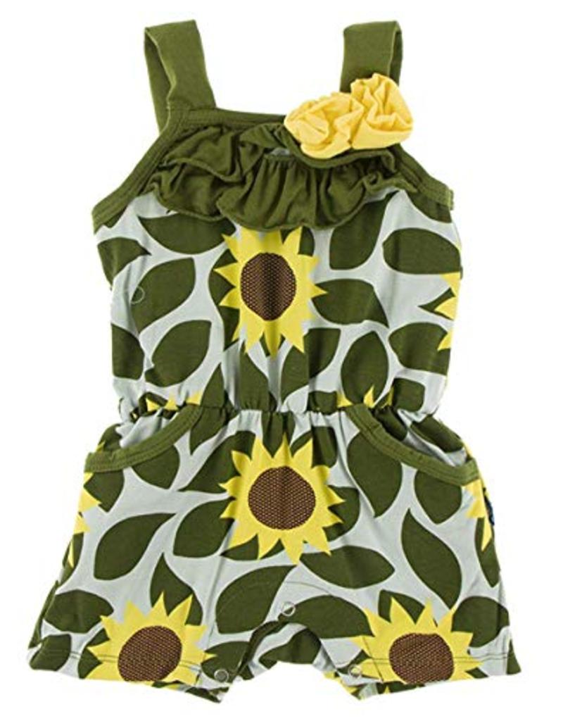 kickee pants aloe sunflower print romper with pockets