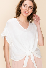 ashley woven tie front top