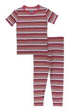 kickee pants botany red ginger stripe short sleeve pajama set