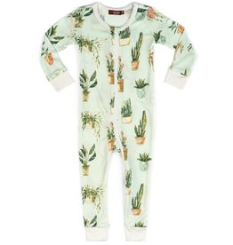 milkbarn bamboo zip pajamas potted plants