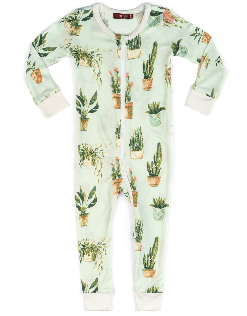 milkbarn bamboo zip pajamas potted plants
