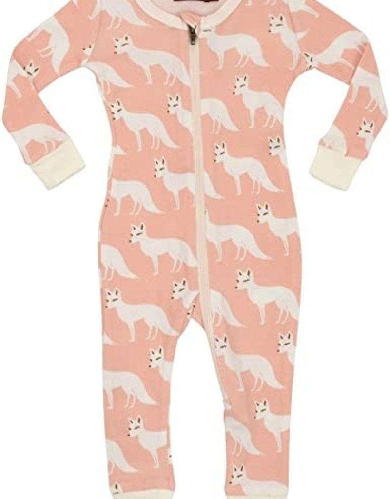 milkbarn pink fox zip pjs