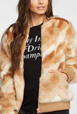 chaser faux fur calico bomber jacket