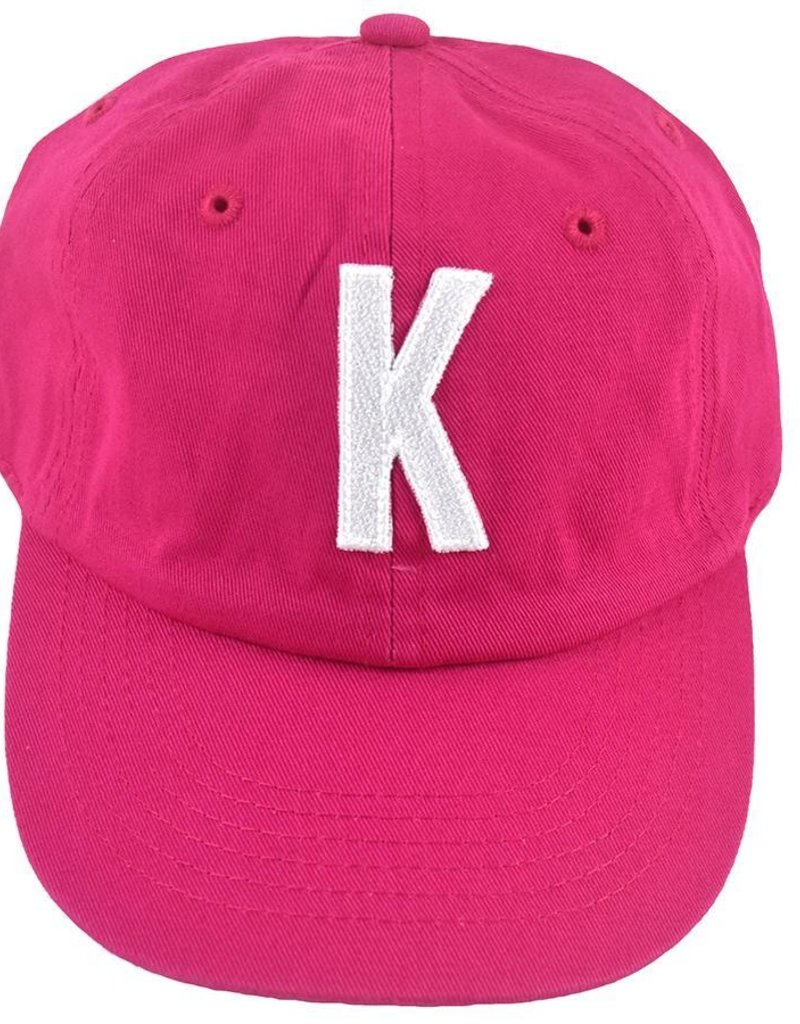 hot pink initial baseball cap