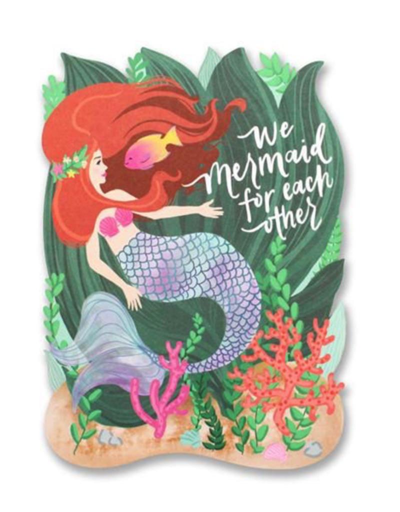 mermaid for each other die cut card