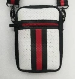 haute shore casey cell phone bag - white black and red