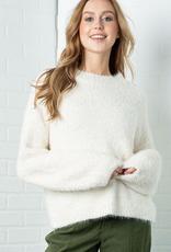 furry popcorn knit pullover