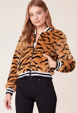 tiger beat faux fur bomber jacket