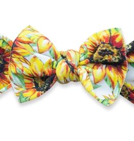 Baby Bling golden sunflowers printed knot headband