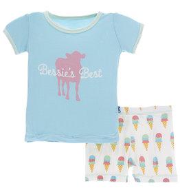 kickee pants natural ice cream print short sleeve pajama set with shorts