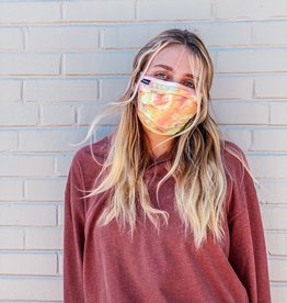 adjustable pleated tie dye face mask