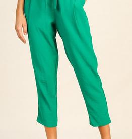 green tie front pants