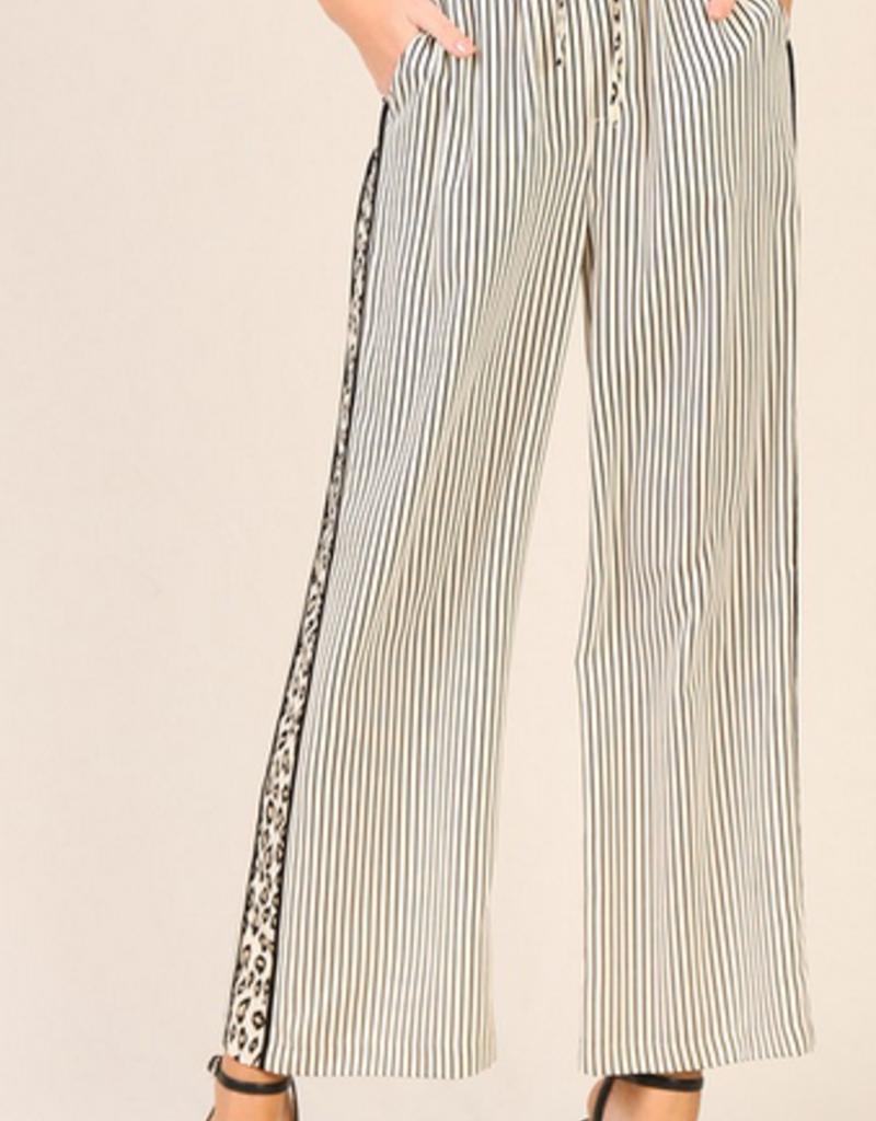 leopard contrast wide leg pants
